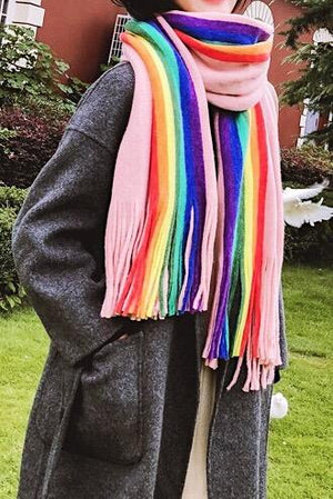 Colorful Striped Long Fringe Scarf