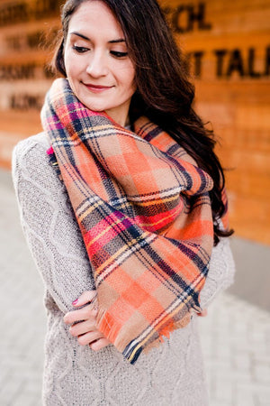 Women's Orange Plaid Blanket Scarf