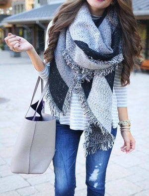 Fall Winter Gray Fringed Scarf