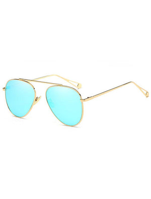 Aviator Mirrored Flat Lens Sunglasses Icy Blue