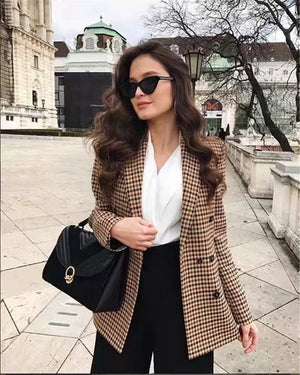 Women Plaid Blazer Autumn Winter Coat Jacket Work Outwear