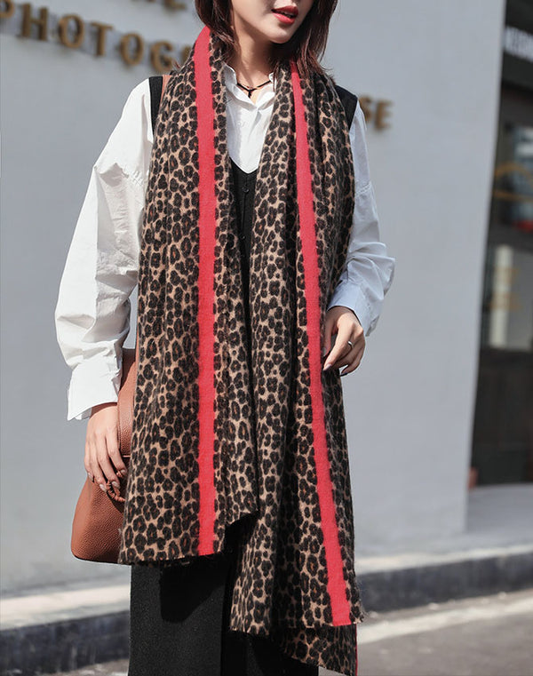 Red Stiped Leopard Scarf