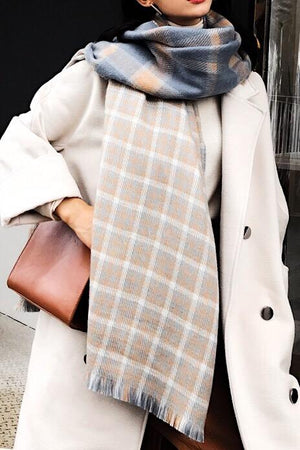 Fall Winter Reversible Plaid Scarf