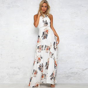 Floral Print Halter Chiffon Long Split Sexy Backless Maxi Dresses Vestidos