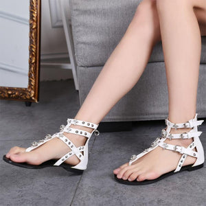 Fashion Thong Sandals Rhinestone Crosses Skull Rome Buckle Women Flats Shoes