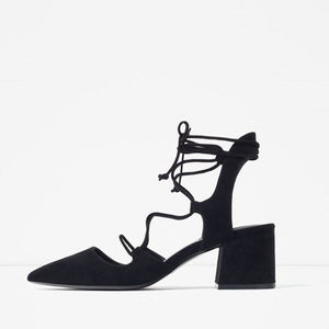 Hot Sexy Black Cross Strap Pumps Suede Lace Up Pointed Toe High Heels
