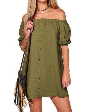 Sexy Mini T Shirt Solid Off Shoulde  Backless Short Sleeve Dress