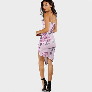 Floral Slip Ruched Bodycon Asymmetrical Overlap Lavender Sexy Dress