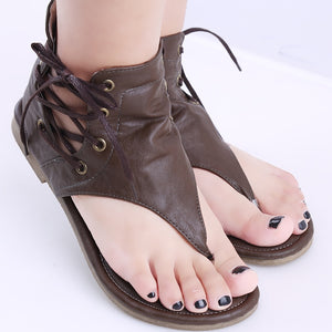 Women Leather Sandals Vintage Rome Style Flip Flop Covered Heel Flat Beach Shoes