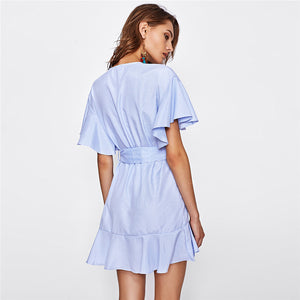 Frill Detail Surplice Wrap Striped Dress Ladies Deep V Neck Short Sleeve