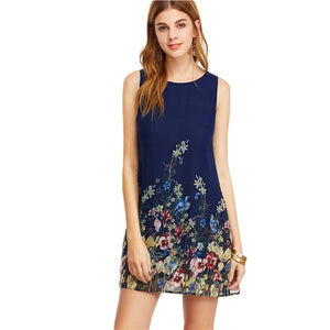 Navy Buttoned Keyhole Back Flower Print Scoop Neck Sleeveless A Line Dress