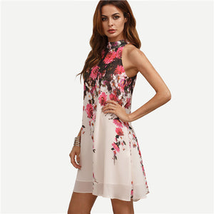 Casual New Arrival Womens Multicolor Round Neck Floral Cut Out Sleeveless
