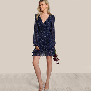 Star Print Ruffle Sweet Navy Frilled Surplice Wrap Flutter Sleeve Elegant Dress