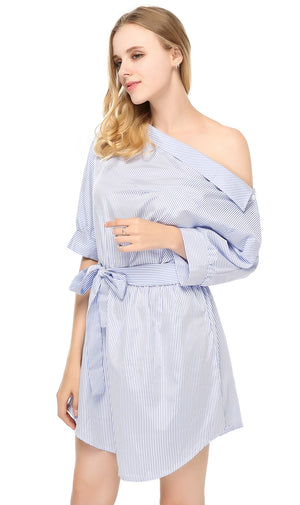 Blue Striped Shirt Short Sexy Side Split Half Sleeve Beach Dress