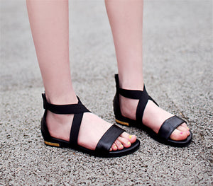 Genuine Leather Women Sandals Fashion Summer Sweet Flats Heel Shoes