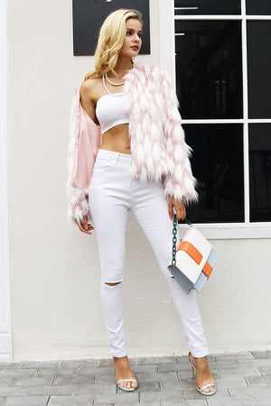 Fluffy warm faux fur  short winter coat female chic pink party casual furry