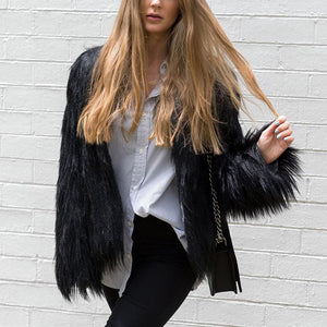 Furry Fur Teddy Coat Women Fluffy Female Outerwear Autumn Winter Coat Jacket