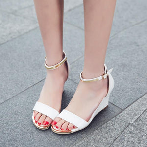Wedges Sandals Ankle Strap Metal Shoes Solid Fashion Leisure Footwear