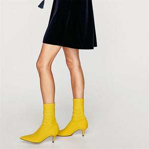 Women Sock Boots Pointed Toe Elastic High Heel Ankle Boots Women Pumps