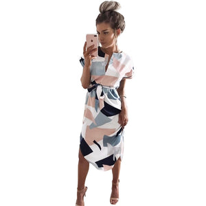 Print V Neck Short Sleeve Casual Sashes Robe Midi Dress Ladies Elegant Vestidos