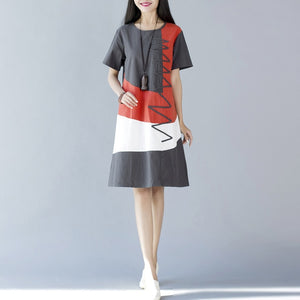 Short Sleeve O Neck Patchwork A-Line Casual Cotton Linen Dress