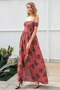 Off Shoulder Print Backless High Waist LongBeach Boho Dress Female