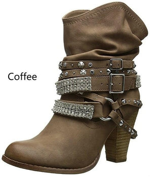 High Heels Winter Shoes Ankle Boots Chunky Booties