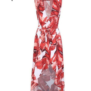 V Neck Bird Print Sexy Sleeveless Sash Wrap Beach Chic Long Dress Vestidos