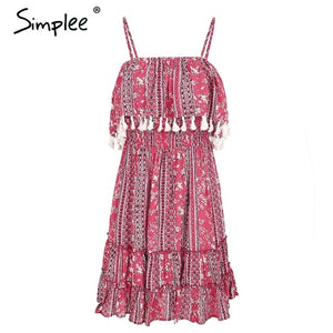 Ruffle Tassel Strap Backless Ethnic Print Vestidos Short Dress Female