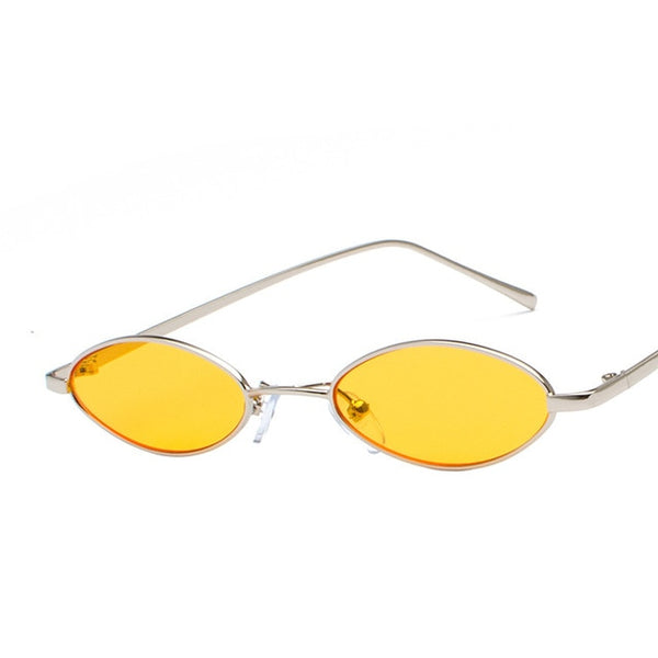 1990s Retro Small Oval Sunglasses Vintage Round Glasses