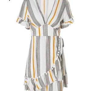 V Neck Stripe Ruffle Wrap Style Cotton Short Streetwear Casual Dress