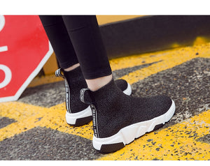 Fashion Flat Heels Women Sock Boots Stretch Ankle Boots Spring Shoes