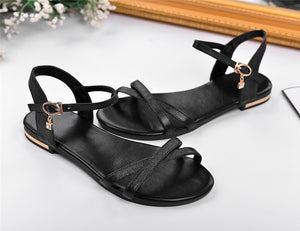 Women Sandals Simple Buckle Genuine Leather Comfortable Flat Shoes