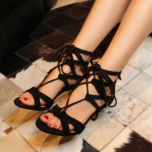 Summer New Sheepskin Genuine Leather Women Sandals Gladiator High Heels Party Wedding Shoes