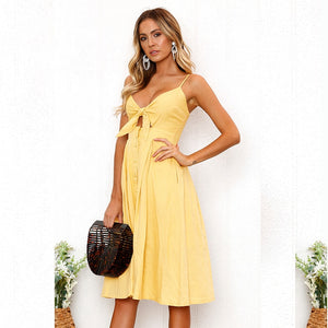 Backless Deep V Neck With Buttons Off Shoulder Beach Summer Dress Women