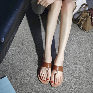 Women Slippers Top Quality Genuine Leather Solid Flip Flops Shoes