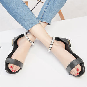 Women Sandals Genuine Leather Summer Buckle Solid Elegant Pearl Casual Flat Shoes