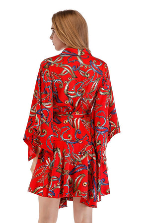 Printed Sexy Loose Ruffled Silk Satin Wrap Deep V-Neck Bandage Sleeve Dress