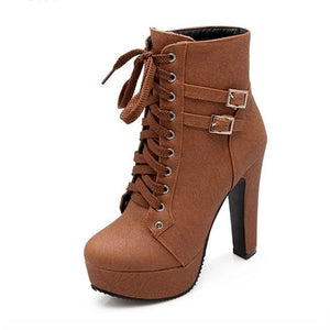 Chunky High Heels Ankle Boots For Women Lace Up Shoes