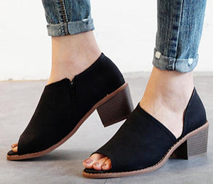 Women Pumps Spring Summer Chunky Heels Sandals Peep Toe Slip On Shoes
