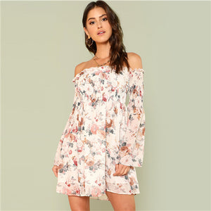 Trumpet  Floral Smock Dress  Summer Long Sleeve Off the Shoulder Dress Women