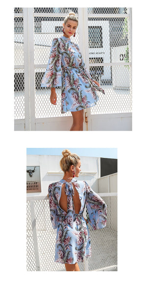 Backless Lace Up Flare Sleeve Floral Print Chiffon Beach Dress