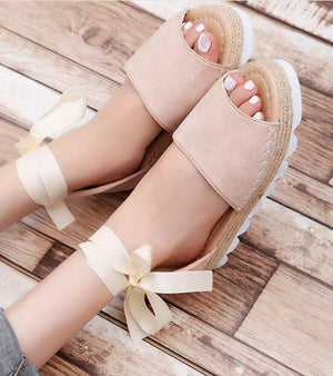 wedges heels ladies woman ankle strap summer casual shoes  flats sandals lace up