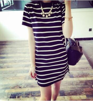 Women Striped Color Short Sleeve O Neck Mini Straight Feminine Dress
