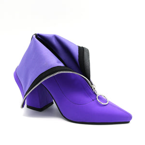 Sock Boots Pointed Toe Elastic High Slip On Heel Blue Square Shoes