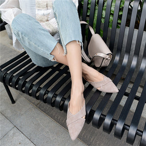Women Slippers Suede Leather Summer Elegant Pointed Toe Fashion Shoes