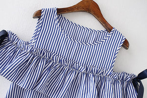 Women Blue Striped Off Shoulder A-line Bow Summer Dress