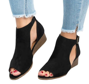 wedge footwear gladiator sandals chunky mid high heel ladies  peep toe shoes