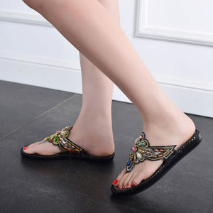 Tong Crystal Flat Bohemian Slippers with Rhinestone Lady Slide Rome Black Flip Flop Sandals