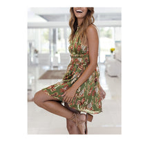 Sexy Backless Halter Hollow Out Short Boho Print Floral Chiffon Dress Vestidos